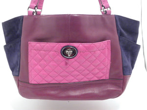 Coach Park Quilted Color block Carrie Tote Burgundy Leather and Navy Blue Suede Sides