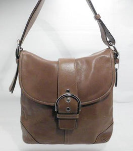 Coach Soho Brown Leather Shoulder Messenger Bag With Buckle Flap