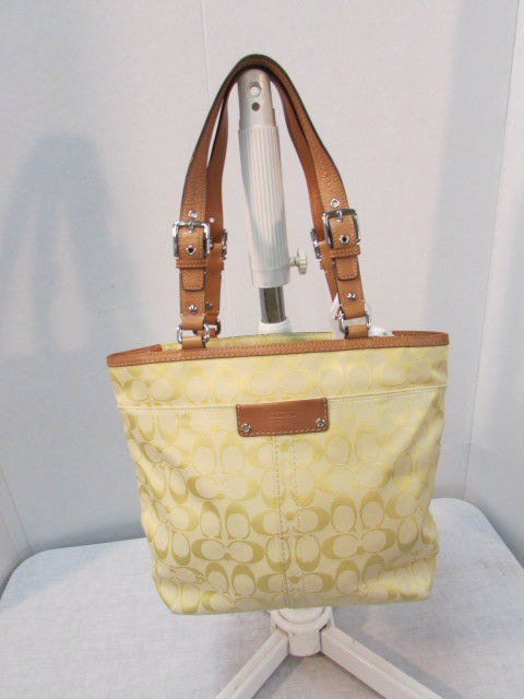 Coach Hampton Yellow Signature Canvas Tote
