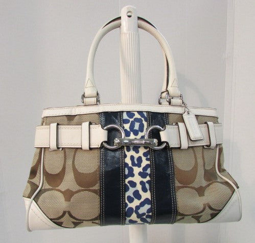 Coach Hamptons Signature Striped Handbag Khaki/Off White/Navy Blue