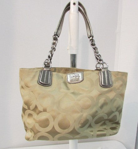 Coach Madison Op Art Signature Tote Khaki/Gold