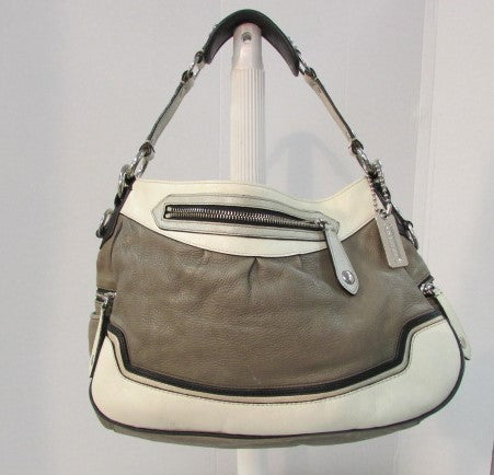 Coach Madison Leather Spectator Shoulder Bag Olive Green/Cream with Black and Gold Trim.
