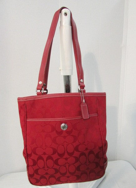 Coach Signature Red Canvas Small Tote