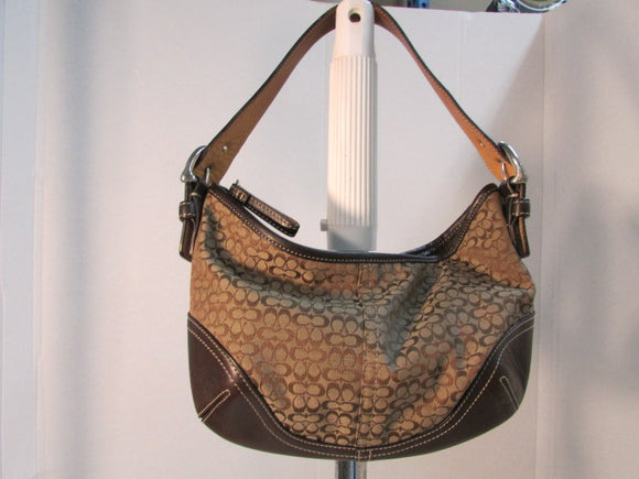 Coach Signature Brown Hobo Shoulder Bag.