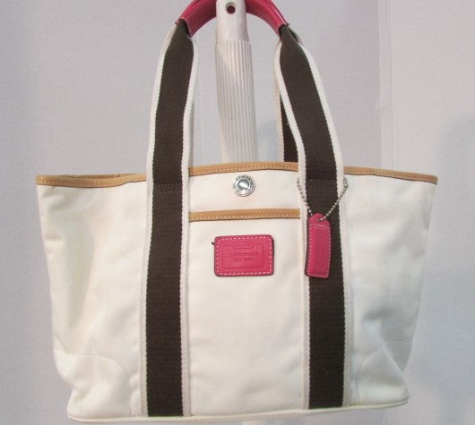 Coach Hampton Small Weekend White/Brown/Pink Tote