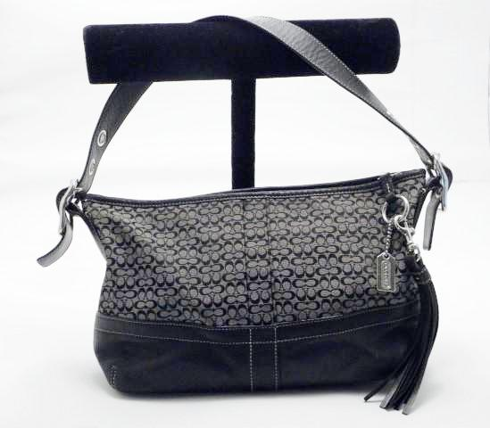 Coach Black Signature Canvas Tassel Handbag