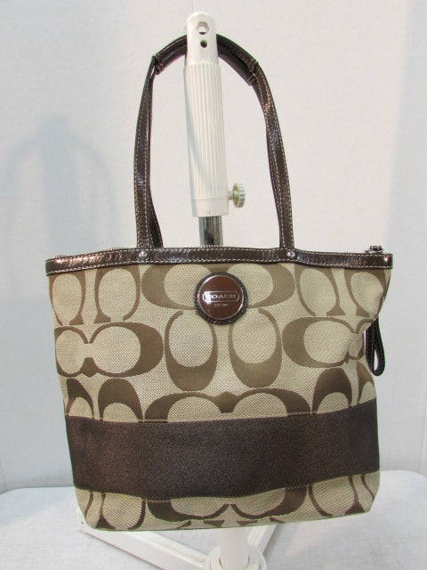 Coach Tan and Brown Signature Stripe Tote