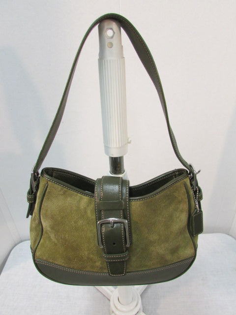 Coach Hampton Green Suede Leather Trim and Buckle Shoulder Bag