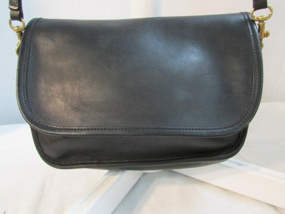Vintage Coach Ritchie Black Leather Flap Crossbody Purse