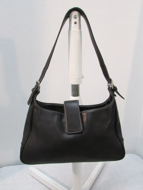 Coach Authentic Black Hampton Leather Hobo Small Shoulder Handbag