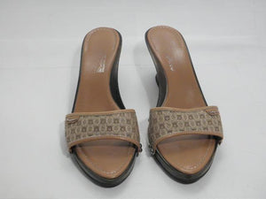 Salvadore Ferragamo 8.5 B Monogram Fabric Sandals Brown Wedges