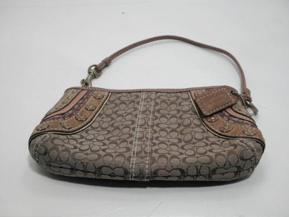 Coach Canvas Wristlet Signature Brown