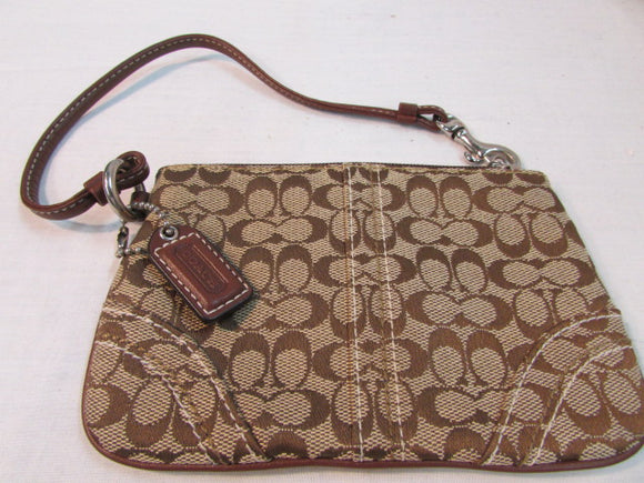 Coach Wristlet Signature Brown Canvas