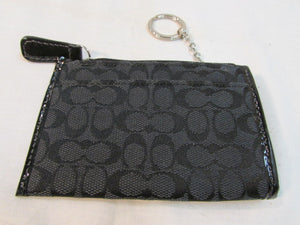 Coach Black Signature Canvas CC & Coin Wallet