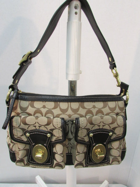 Coach Brown Tan Black Signature Shoulder Legacy Bag