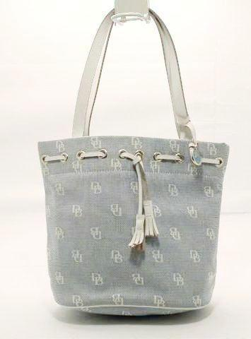 Dooney and Bourke Medium Blue and White Signature Canvas with Leather Bucket Purse.