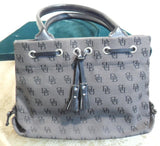 Dooney and Bourke Dark Gray Signature Canvas and Leather Top Zip Satchel
