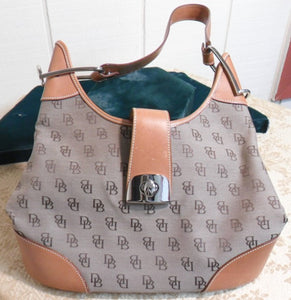 Dooney and Bourke Signature Brown Logo with Tan Leather Hobo Bag