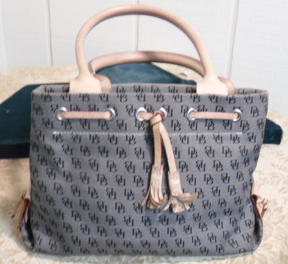 Dooney and Bourke Brown Signature Canvas and Leather Tassel Satchel