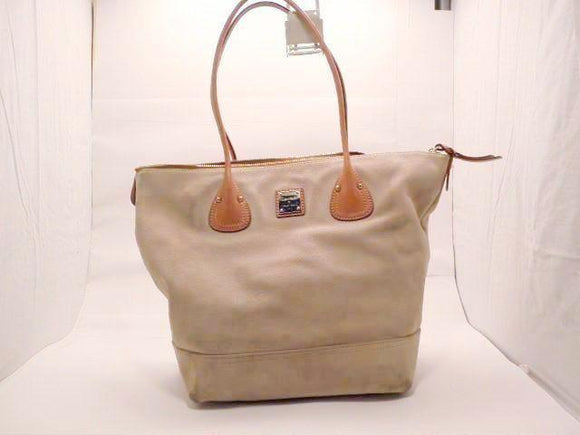 Dooney and Bourke Beige Suede and Brown Leather Extra Large Tote
