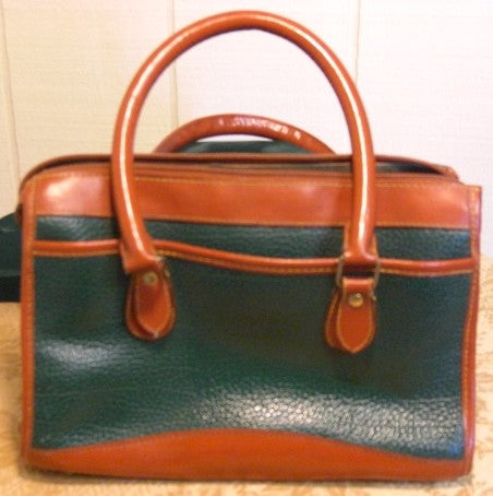 Vintage Dooney and Bourke Green Tan satchel purse