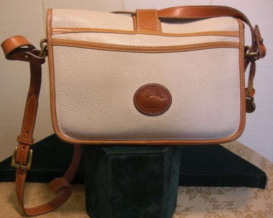 Vintage Dooney and Bourke Leather Off White and Tan Flap Equestrian Shoulder Bag