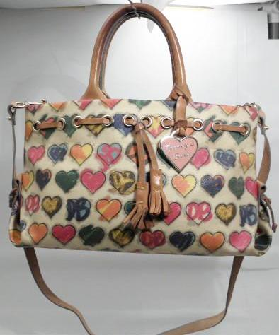 Dooney and Bourke Signature Heart Multicolor Canvas Tassel Leather Satchel
