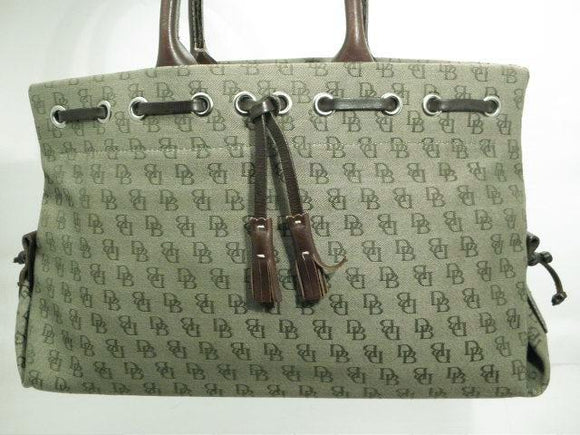 Dooney and Bourke Green Canvas Signature with Brown Leather Tassel and Trim Satchel