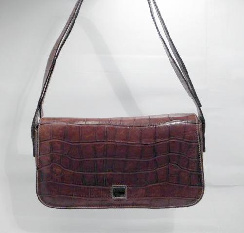 Dooney and Bourke Brown Croc Leather Shoulder Bag