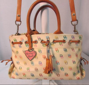 Dooney & Bourke Coated Signature Logo Yellow Multi Canvas Satchel.