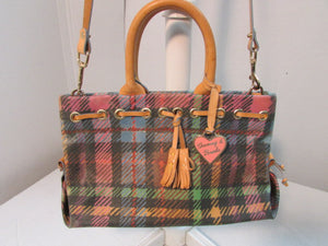 Dooney & Bourke Coated Canvas and Leather all weather Satchel Bag.
