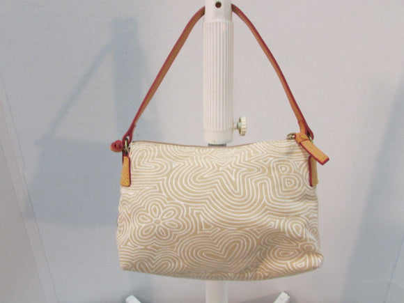 Dooney & Bourke Beige & Cream Canvas Leather Baguette