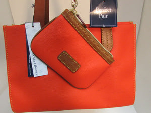 Dooney & Bourke Red Pebble Leather Small Shopper with matching Wristlet - NWT
