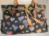 Dooney & Bourke Black Coated Canvas Multicolor Heart Purse