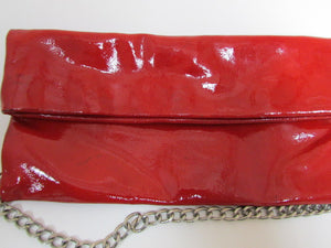 Dooney & Bourke Red Patent Leather Fold Over Shoulder Bag