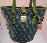 Dooney & Bourke Signature Blue/N Green Canvas & Leather Bucket Bag