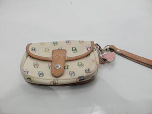 Dooney and Bourke Signature Yellow with Multi Color Emblems Canvas Wristlet