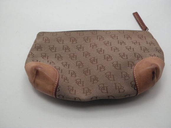 Dooney and Bourke Signature Brown Canvas with Leather Cosmetic Bag