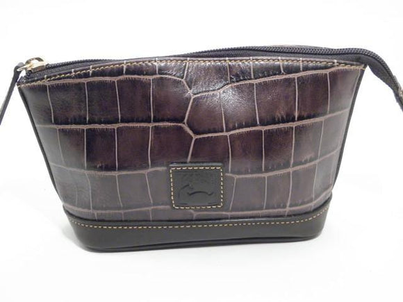 Dooney and Bourke Croc Brown Leather Cosmetic Bag