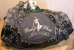Baby Phat Denim Black Faux Leather Shoulder Purse With Studded Trim Nwt
