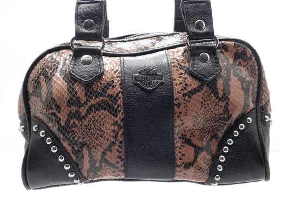 Harley Davidson Embossed Snake Python Leather Shoulder Bag
