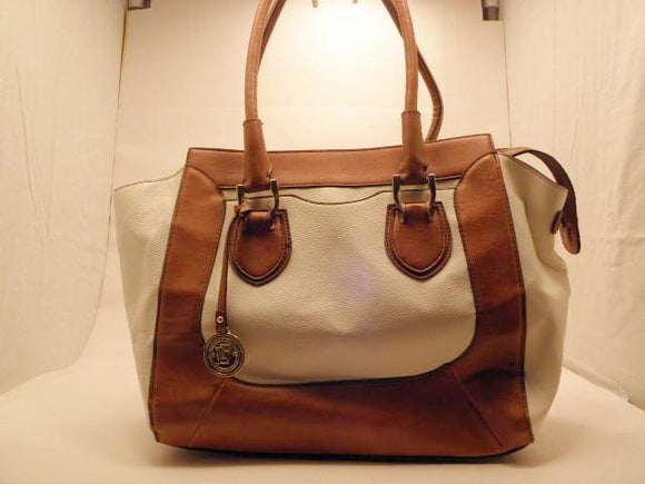London Fog Large Bedford White Tote with Color Block Design Purse