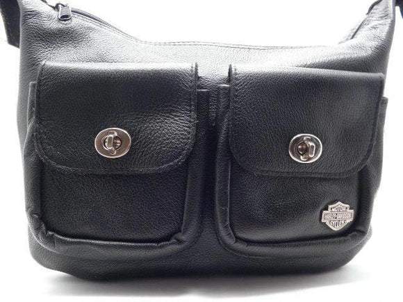Harley Davidson Black Leather Shoulder Bag with Adjustable Strap