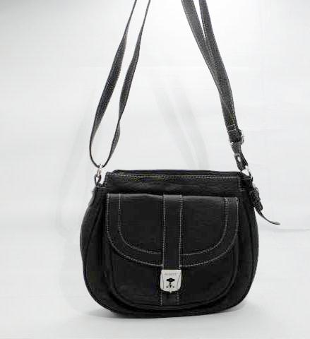 Rosetti Black Faux Leather Crossbody with White Stitching