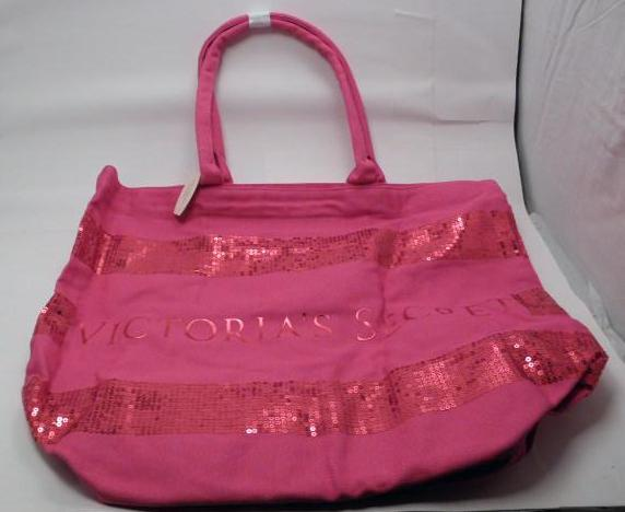 Victoria Secret Oversize Pink Canvas Sequence Tote