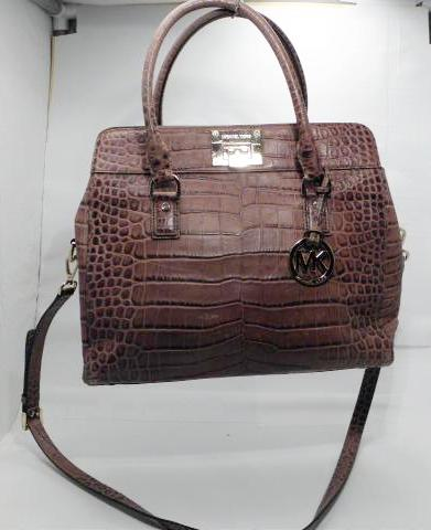 Michael Kors Astrid Brown Croc Leather Large Satchel