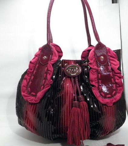 Sharif 1827 Red and Black Stripe Large Tote Purse with Matching Wristlet