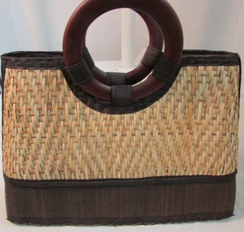 Mexican Straw Purse with Small Loop Wooden Handles