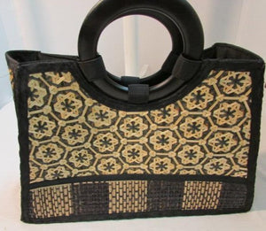 Mexican Straw Tote with Small Wooden Handles
