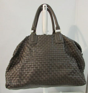 Deux Lux Large Weave Brown Leather Tote with Gold Hardware